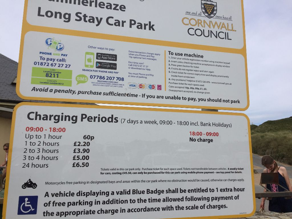 Cornwall Council Car Park Notice of Charges